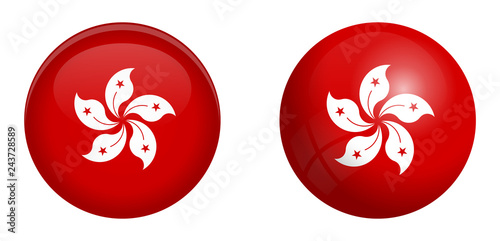 Fototapeta Hong Kong (Administrative Region of China) flag under 3d dome button and on glossy sphere / ball