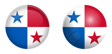 Panama Flag Under 3d Dome Button And On Glossy Sphere / Ball.
