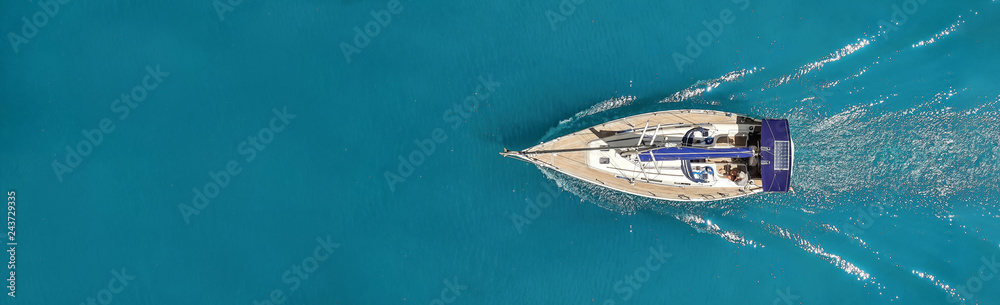 Fototapety, obrazy: Beautiful photo of the yacht from above in the open sea.