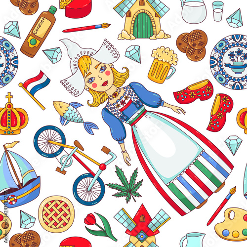 Photo Holland Netherlands doodle icons seamless vector pattern