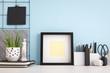 Leinwanddruck Bild - Frame mock up on blue wall