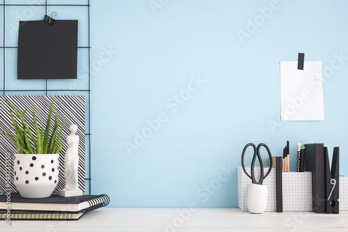 Fototapeta Blue workspace desk mock up. obraz