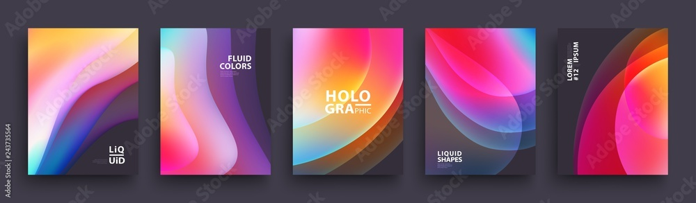 Fototapeta Modern Covers Template Design. Fluid colors. Set of Trendy Holographic Gradient shapes for Presentation, Magazines, Flyers, Annual Reports, Posters and Business Cards. Vector EPS 10