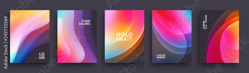 Obraz Modern Covers Template Design. Fluid colors. Set of Trendy Holographic Gradient shapes for Presentation, Magazines, Flyers, Annual Reports, Posters and Business Cards. Vector EPS 10 - fototapety do salonu