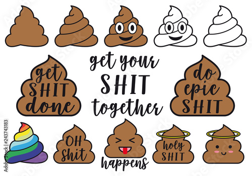 Kawaii poop icons, vector graphic design elements