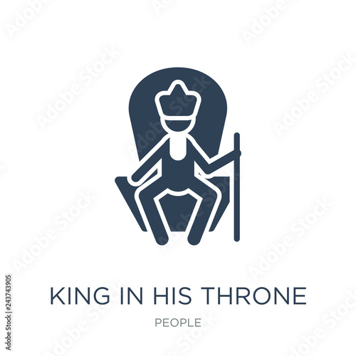 Photo  king in his throne icon vector on white background, king in his