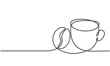 Cup Of Coffee And Coffee Bean. Continuous Line Drawing.