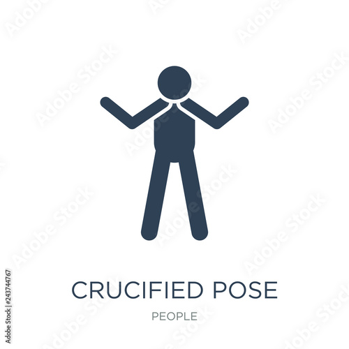 Obraz na plátně crucified pose icon vector on white background, crucified pose t