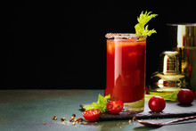 Bloody Mary Cocktail. Alcoholic Drink And Ingredients On Dark Green Background, Copy Space