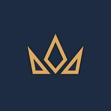 Crown Logo On Dark Background. Vector