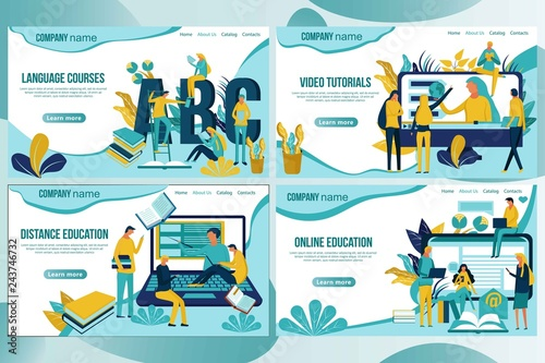 Web page design template for online education, distance