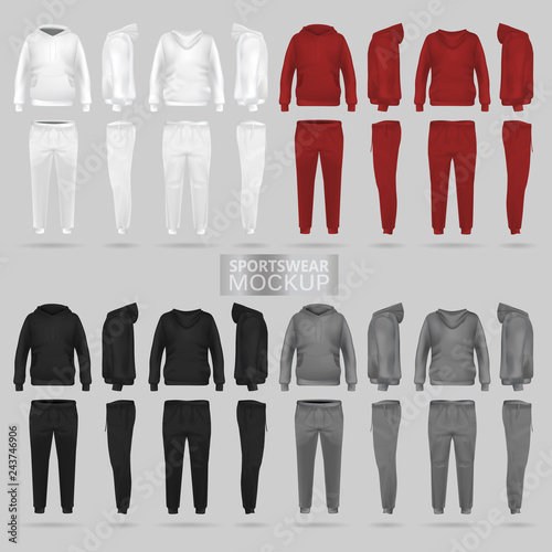 Fotografía  Mockup of the sportswear hoodie and trousers in four dimensions: front, side and back view, realistic gradient mesh vector