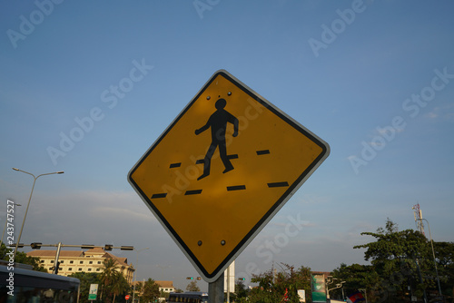Fotografía  Siem Reap,Cambodia-Januay 9, 2019: A pedestrian crossing sign on National Highwa