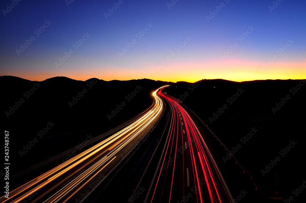 Fototapety, obrazy: Carretera por la noche