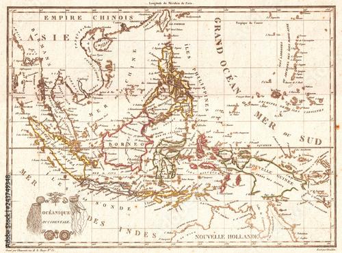 Cuadros en Lienzo Old Map of the East Indies, Singapore, Southeast Asia, Sumatra, Borneo, Java, 18