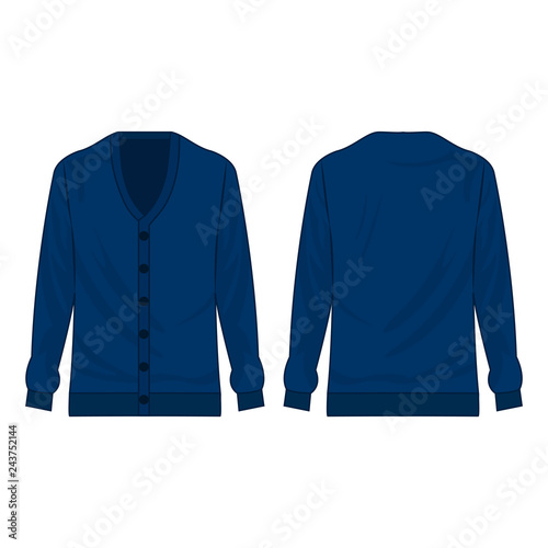 Fotografía  Blue basic cardigan with buttons isolated vector on the white background