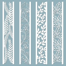 Laser Cut Ornamental Panels With Floral Pattern. Leaves, Berries, Fern.  Set Of Bookmarks Templates. Sticker Set. Pattern For The Laser Cut, Serigraphy, Plotter And Screen Printing.