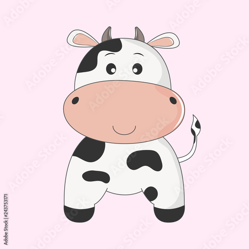 Hand drawn vector illustration of a cute funny cow.