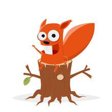 Funny Cartoon Squirrel Sitting On A Tree Stump