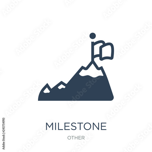 Foto  milestone icon vector on white background, milestone trendy fill