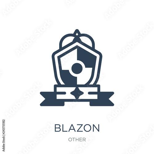 Photo blazon icon vector on white background, blazon trendy filled ico