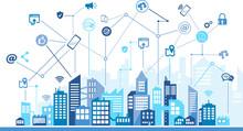 Mobile Communication / Social Media / Digitalization In The City, Urban Background – Vector Illustration