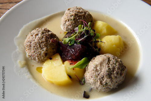Fotografie, Obraz  Prussian specialty of Konigsberger Klopse meatballs.