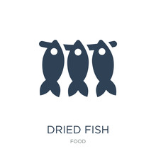 Dried Fish Icon Vector On White Background, Dried Fish Trendy Fi
