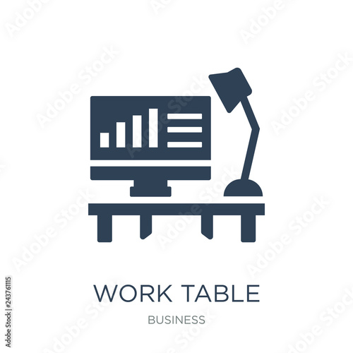 Valokuva  work table icon vector on white background, work table trendy fi