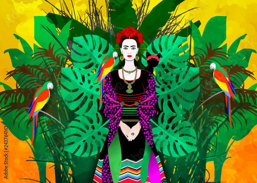 Portrait of the young beautiful Latin America woman with a traditional hairstyle Wallpaper Mural