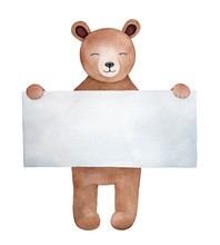 Little Teddy Bear Character With Happy Smiling Face Keeping In Paws Large Blank Square Shaped Paper Note. Can Be Used To Write Your Words Or Message. Hand Drawn Water Color Painting On White Backdrop.