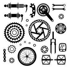 Bicycles. Set Of Bicycle Parts. Start Flag. Isolated Vector Image.