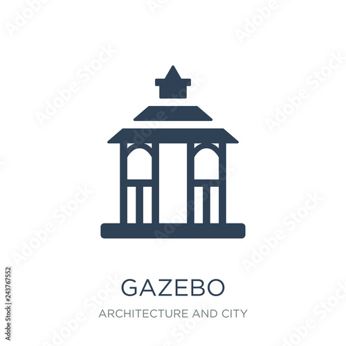 Fotografia gazebo icon vector on white background, gazebo trendy filled ico