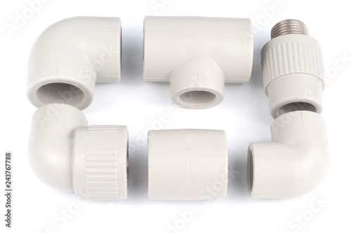 Photo  Plastic fittings for polypropylene pipes on a white background