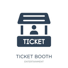 Ticket Booth Icon Vector On Wh...