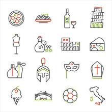 Symbols Of Italy Line Icon Set...