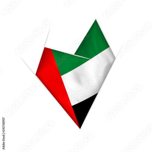 Fotografie, Obraz  Sketched crooked heart with United Arab Emirates flag