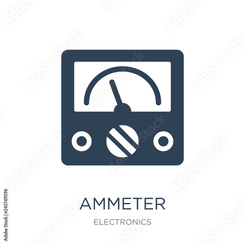 Photo ammeter icon vector on white background, ammeter trendy filled i