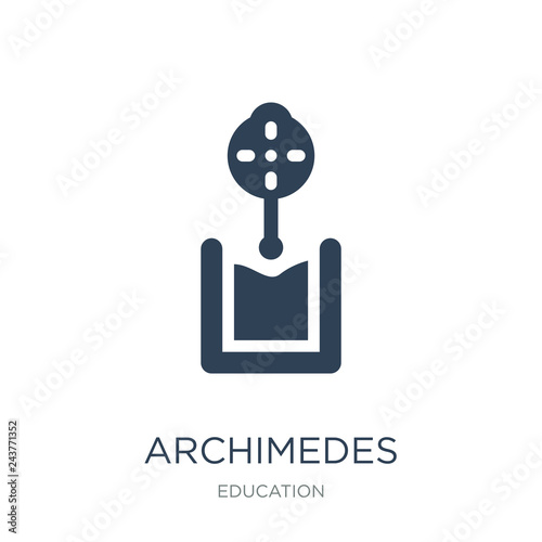 Photo archimedes principle icon vector on white background, archimedes