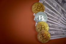 Bitcoin On A Pile Of Money, American Dollar Bills