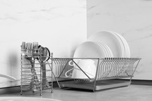 Drying Rack With Clean Dishes ...
