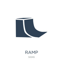 Ramp Icon Vector On White Background, Ramp Trendy Filled Icons From Signs Collection, Ramp Vector Illustration