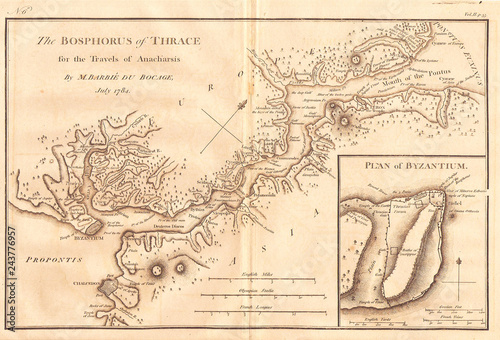 Canvas 1784, Bocage Map of The Bosphorus and the City of Byzantium, Istanbul, Constanti