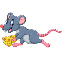 Cartoon Mouse Running With Slice Of Cheese