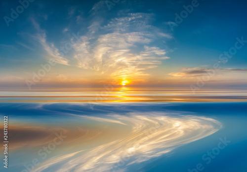 Sunset or sunrise over calm water Canvas-taulu