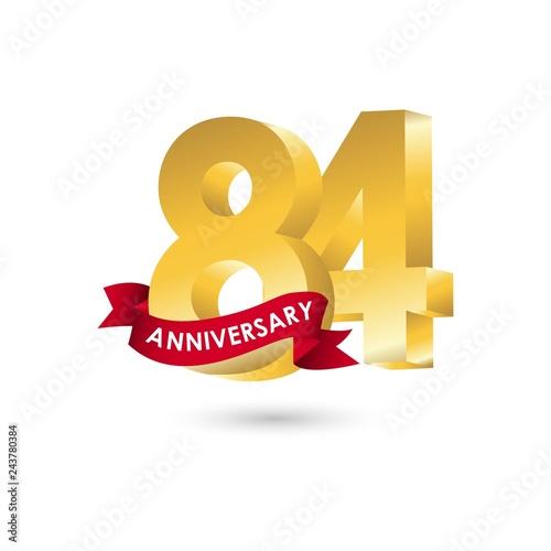 Fotografia  84 Year Anniversary Vector Template Design Illustration