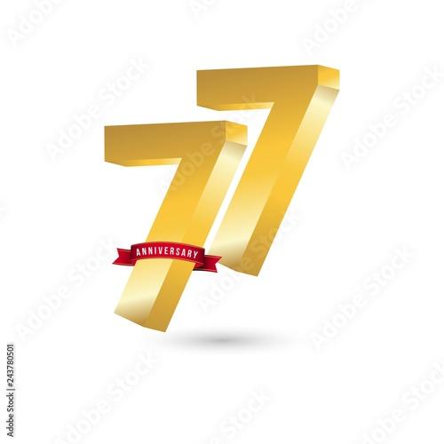 Fotografie, Obraz  77 Year Anniversary Vector Template Design Illustration