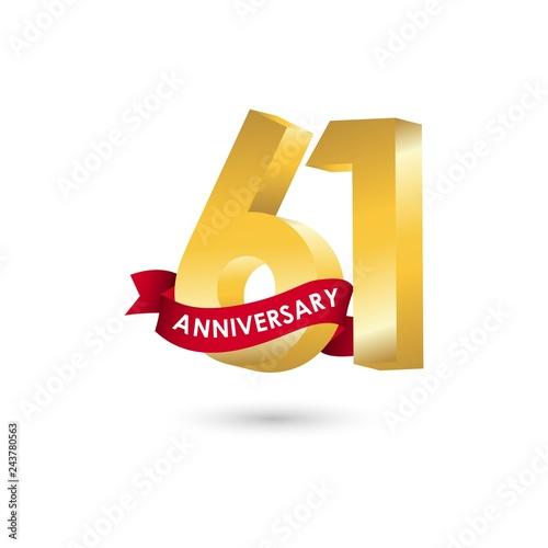 Fotografia  61 Year Anniversary Vector Template Design Illustration