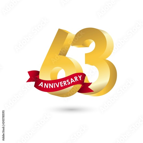 Fotografia  63 Year Anniversary Vector Template Design Illustration