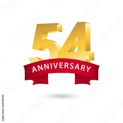 54 Year Anniversary Vector Template Design Illustration Wallpaper Mural